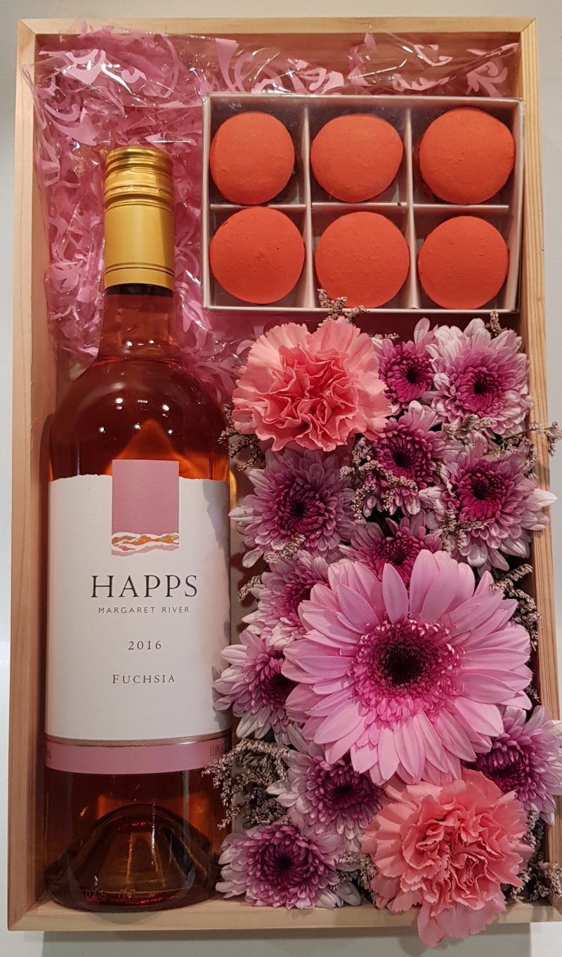 Wine Flowers and Macarons - Boxed Indulgence