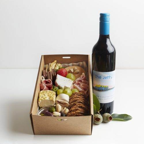 BOXED INDULGENCE Gourmet Grazing Box with Red Wine 2 -3 people